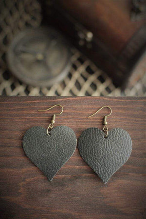 CommandeerBrand Jewelry Heart Leather Earrings - Black Pearl