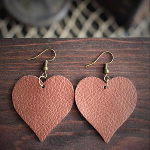 CommandeerBrand Jewelry Heart Leather Earrings - Copper