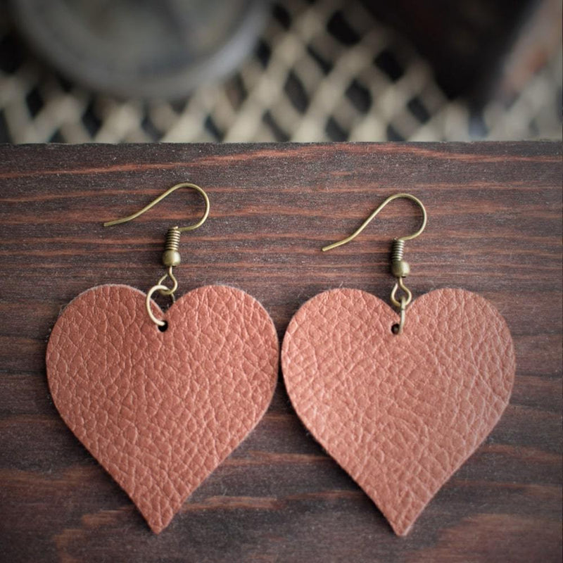 Heart Leather Earrings - Copper