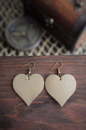 CommandeerBrand Jewelry Heart Leather Earrings - Natural