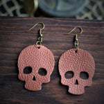 Skull Leather Earrings - Copper