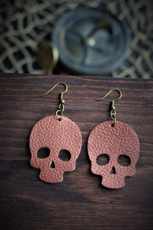 CommandeerBrand Jewelry Skull Leather Earrings - Copper