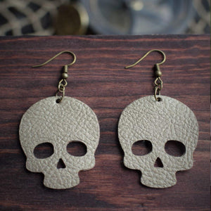 CommandeerBrand Jewelry Skull Leather Earrings - Gold