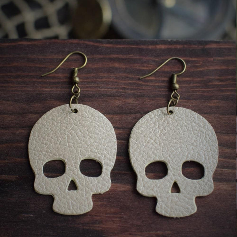 Skull Leather Earrings - Natural