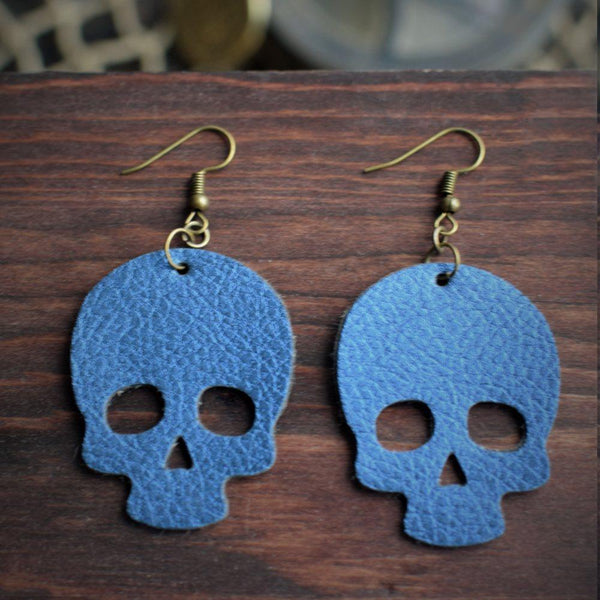 CommandeerBrand Jewelry Skull Leather Earrings - Royal Blue
