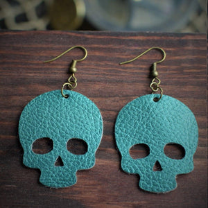 CommandeerBrand Jewelry Skull Leather Earrings - Teal