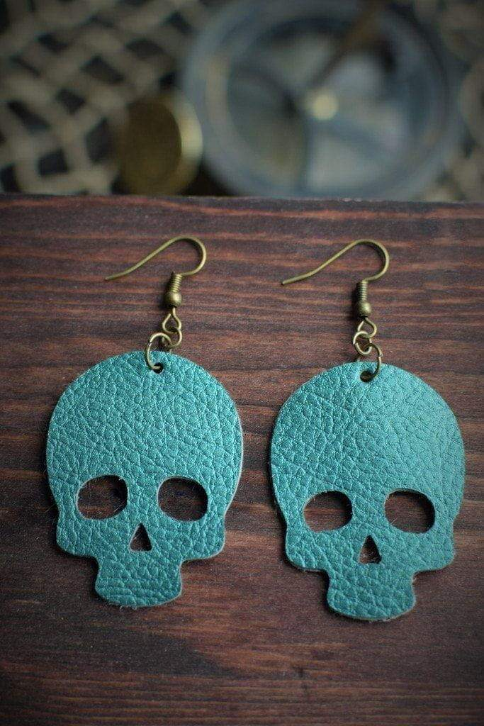 Skull Leather Earrings - Teal