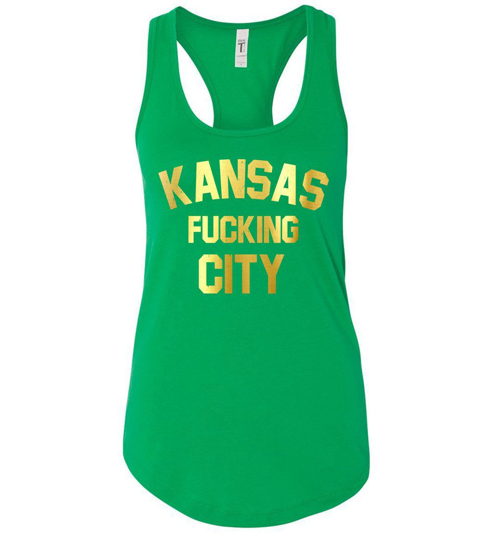 CommandeerBrand Kansas F*cking City Racerback Tank - Gold and Green
