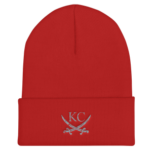 Printify Red KC Crossed Swords Cuffed Beanie