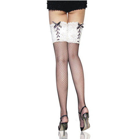 Lace Corset with Tie Top Fishnet Thigh High Stockings - White Topped