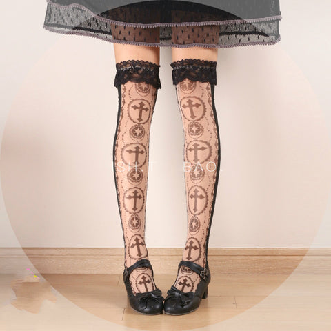 HARAJUKU Original Black Lace Cross Stockings