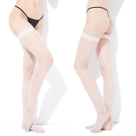 Feitong Lace Top Silicone Band Fishnet Mesh Thigh High Stockings - White