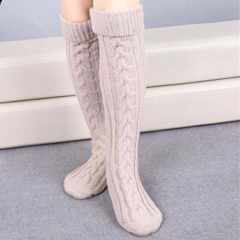 Womail Winter Thick Women Knitted Long Boot Socks