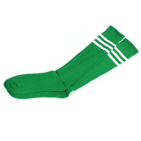 Feitong Striped Cheerleader Long Socks - Green  With White Stripes