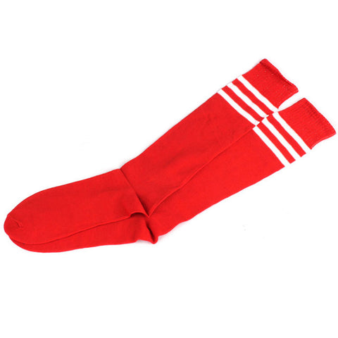 Feitong Striped Cheerleader Long Socks - Red with White Stripes