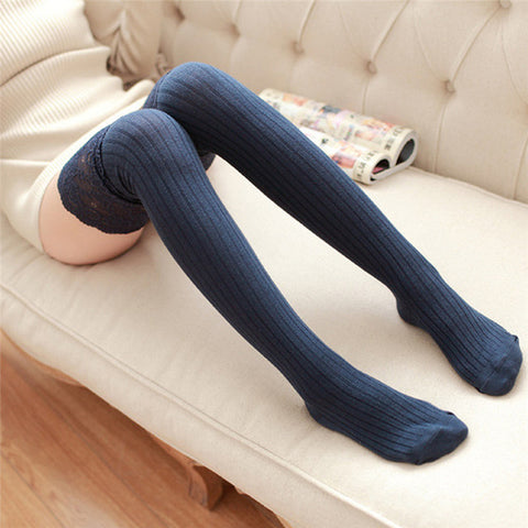 Feitong Autumn Cotton Lace Thigh High Stockings - Navy