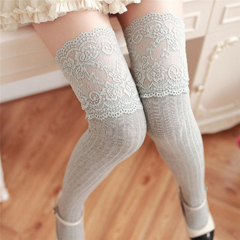 Feitong Autumn Cotton Lace Thigh High Stockings - Light Gray
