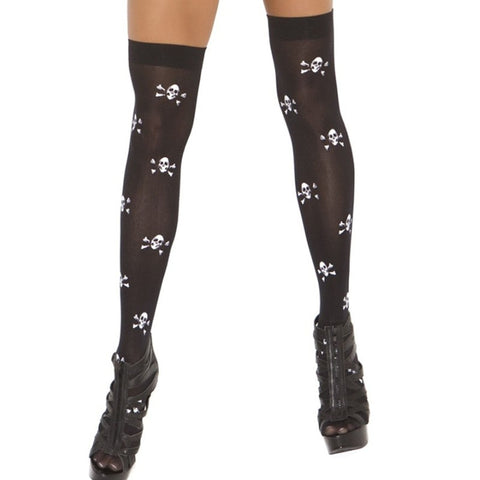 Skull and Crossbones Thigh High Stockings