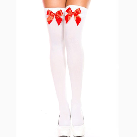 Nylon Bow Stockings White with Red Bow