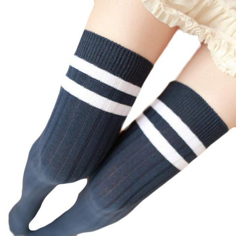 Feitong Soft Knit Knee High Socks - Navy with White Stripes