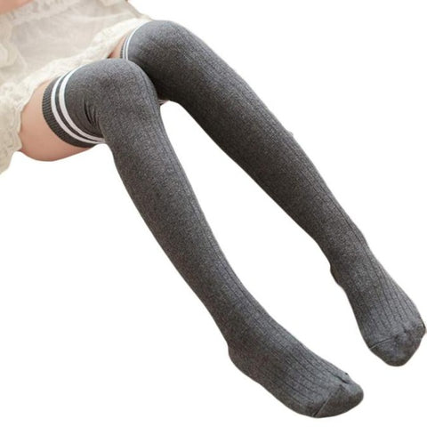 Feitong Soft Knit Knee High Socks - Gray with White Stripes