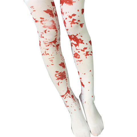 Japanese Printed Thigh High Stockings - Blood Spatter