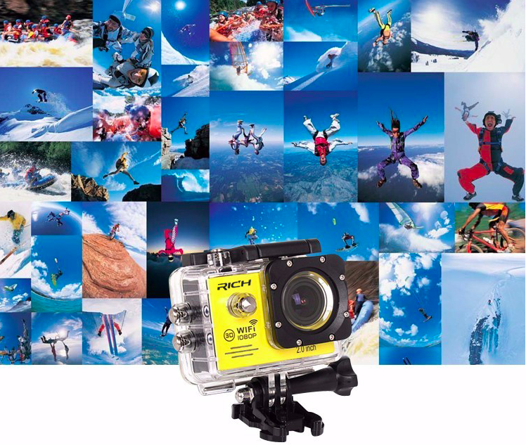 Mini Waterproof Action Camera 1080P with Wifi - Sunflower Musk