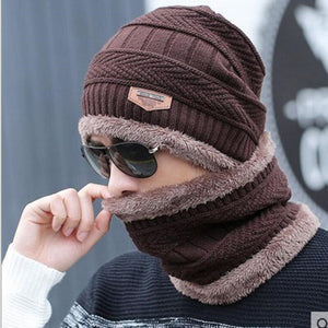 Men's Winter Beanie And Knitted Scarf - Sunflower Musk