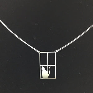"""Cat in the window"" cat pendant and chain"