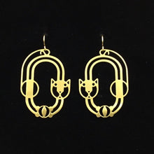 """Cat and Ball"" stylized cat design hoop earrings"