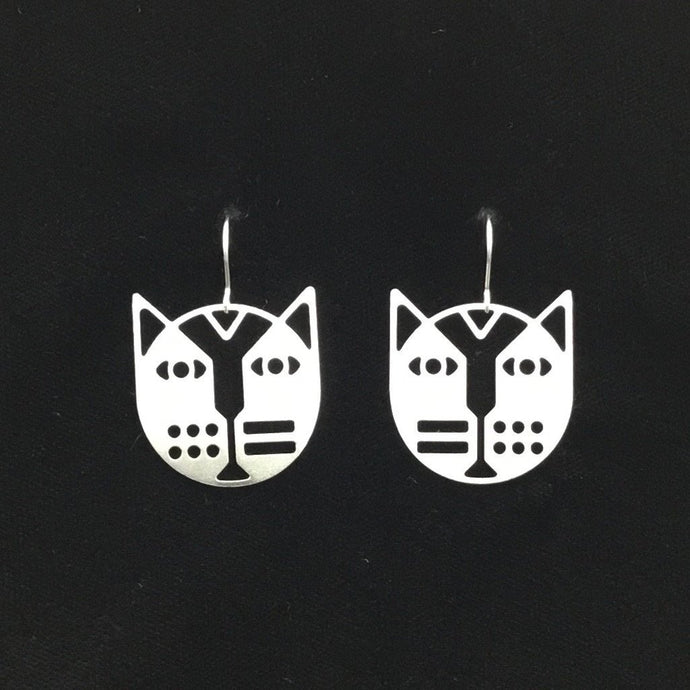 """Deco face cats"" stainless steel cat face earrings"