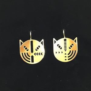 """Geo face cats"" stylized cat face earrings"