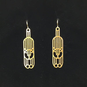 """Hang in There"" cat earrings, 23k gold plated over stainless steel"