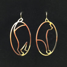 """In one ear and out the other"" cat hoop earrings"