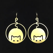 """Kitty Cup"" round hoop cat earrings"