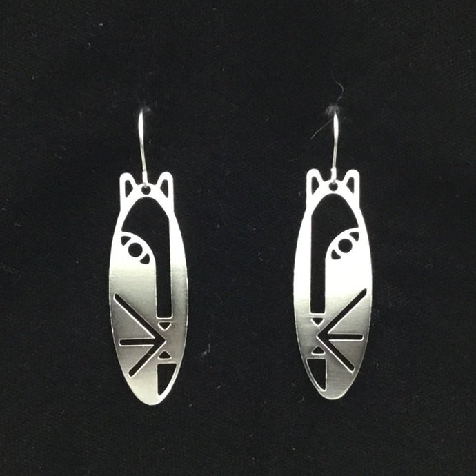 """Masked face"" oval hoop feline earrings"