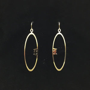 """Peek-a-boo"" stainless steel oval hoop earrings"