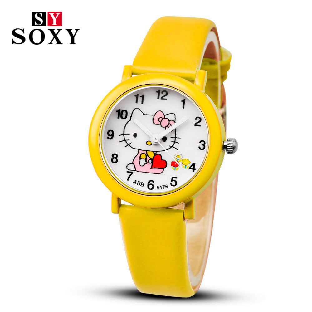 d0a6e7c05 ... Hello Kitty Cartoon Watches Kid Girls Leather Straps Wristwatch Children  Quartz Watch ...