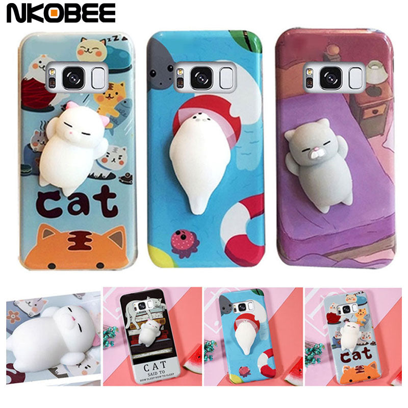 new style f54de ffbe6 Samsung S8 Cat Phone Case 3D Cute Squishy Silicone Cover For Samsung S8  Case Cartoon Soft Case For Galaxy S8 S 8 Plus