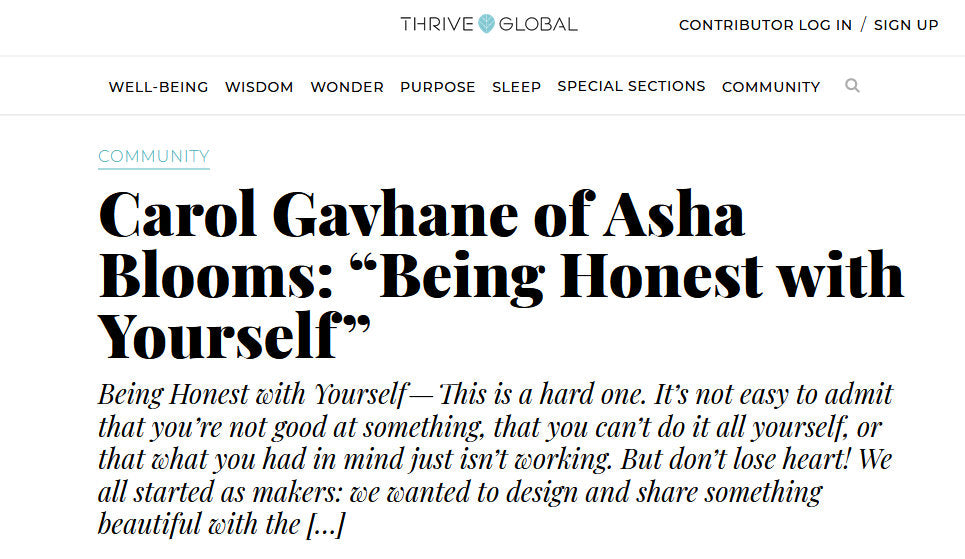 Interview with Carol in Arianna Huffington's Thrive Global