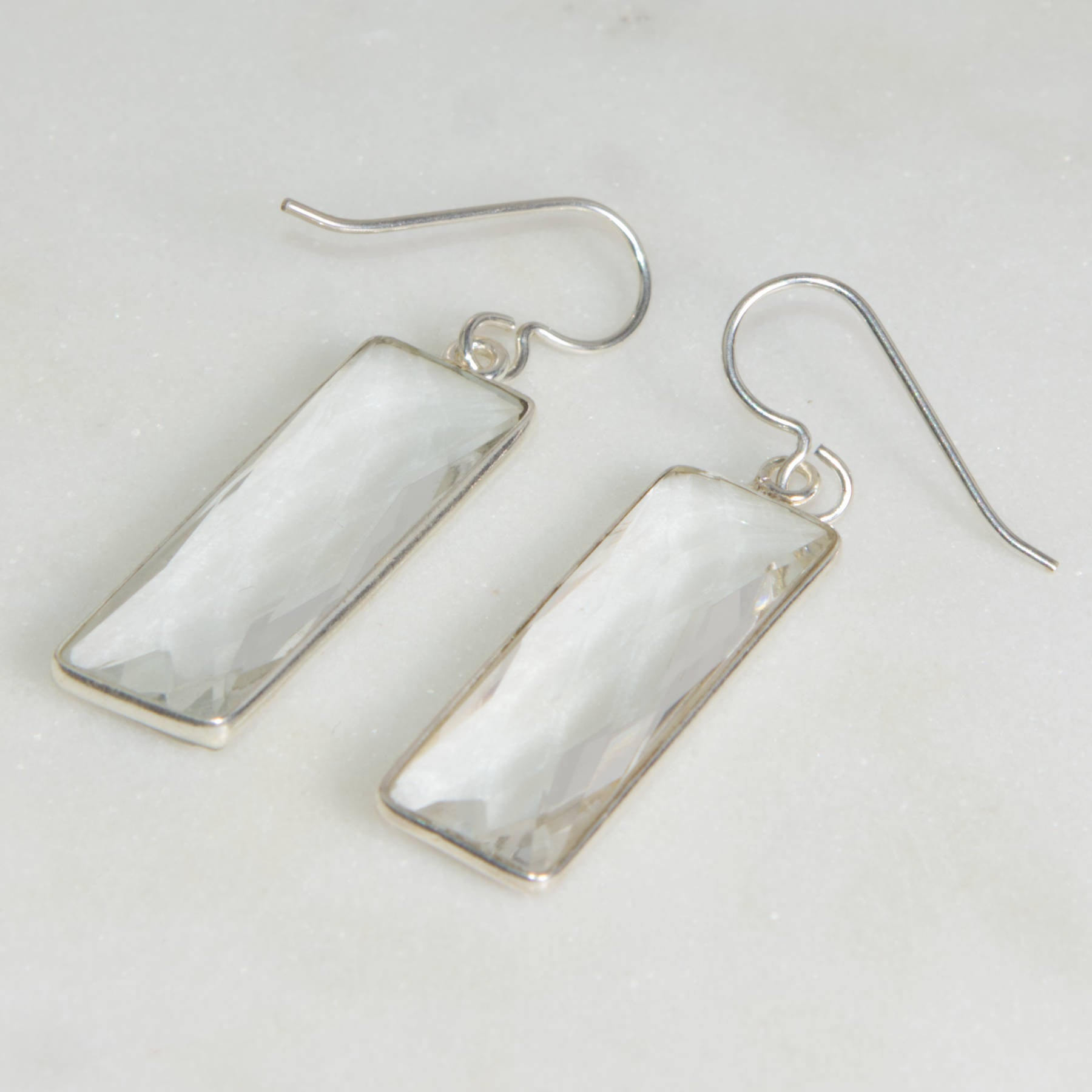 Clear Quartz Rectangle Earrings | Restoration, Cleansing
