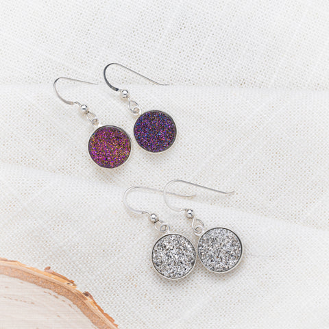 Druzy Earrings in Silver or Purple | Joy