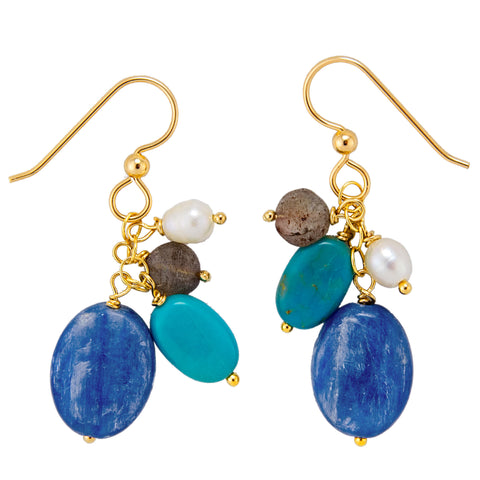 Zenja Earrings - Kyanite & Turquoise