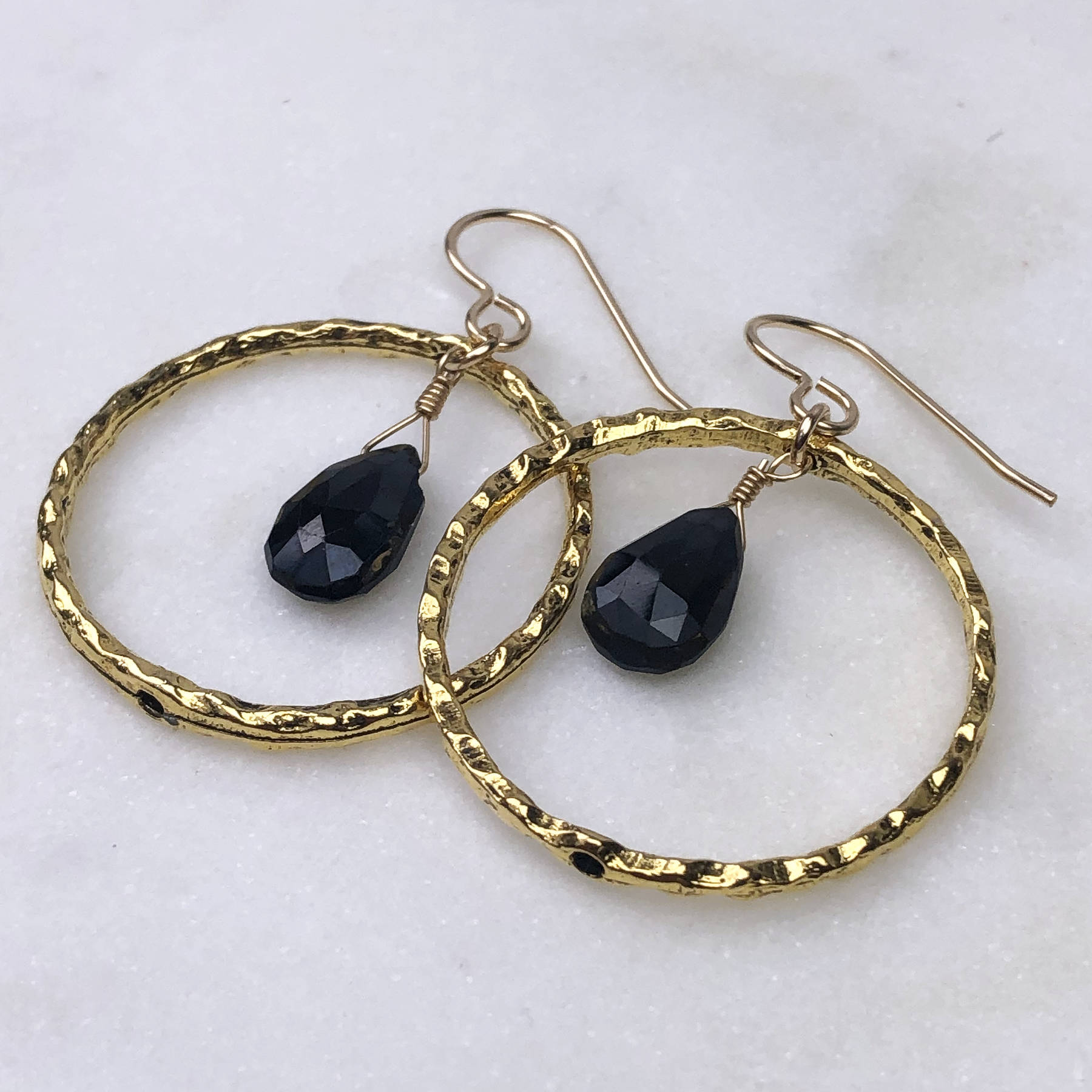 Hammered Gold Hoops with Faceted Black Onyx Earrings