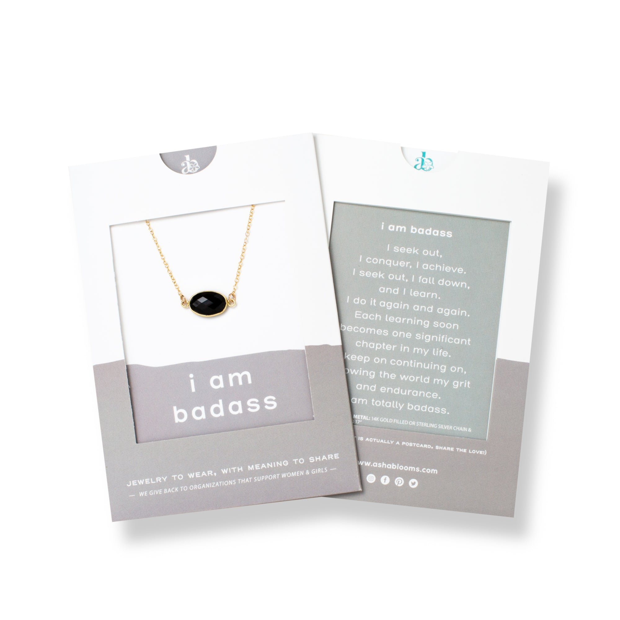 Oval-shaped Spinel and Gold Necklace 'I Am Badass' in Gray Gift Message Sleeve Packaging Photo by Asha Blooms