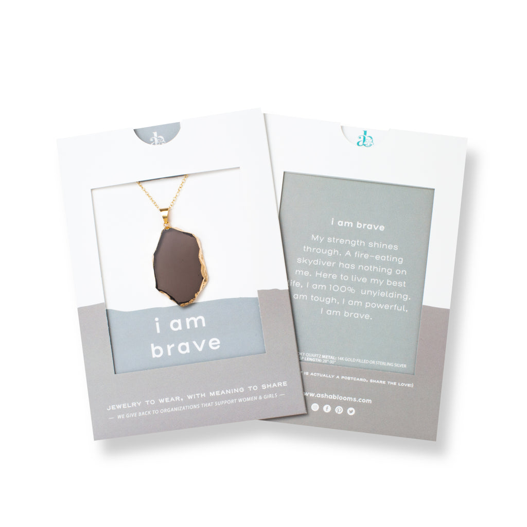 Slice-shaped Smoky Quartz and Gold or Silver Long Necklace 'I Am Brave' In Gray Gift Message Sleeve Packaging Photo by Asha Blooms