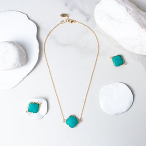 I Am Complete   Turquoise Necklace in Gold