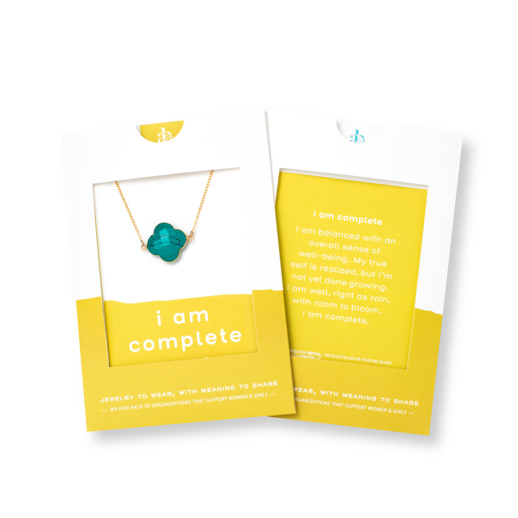 Clover-shaped Turquoise and Gold Necklace 'I Am Complete' in Yellow Gift Message Sleeve Packaging Photo by Asha Blooms