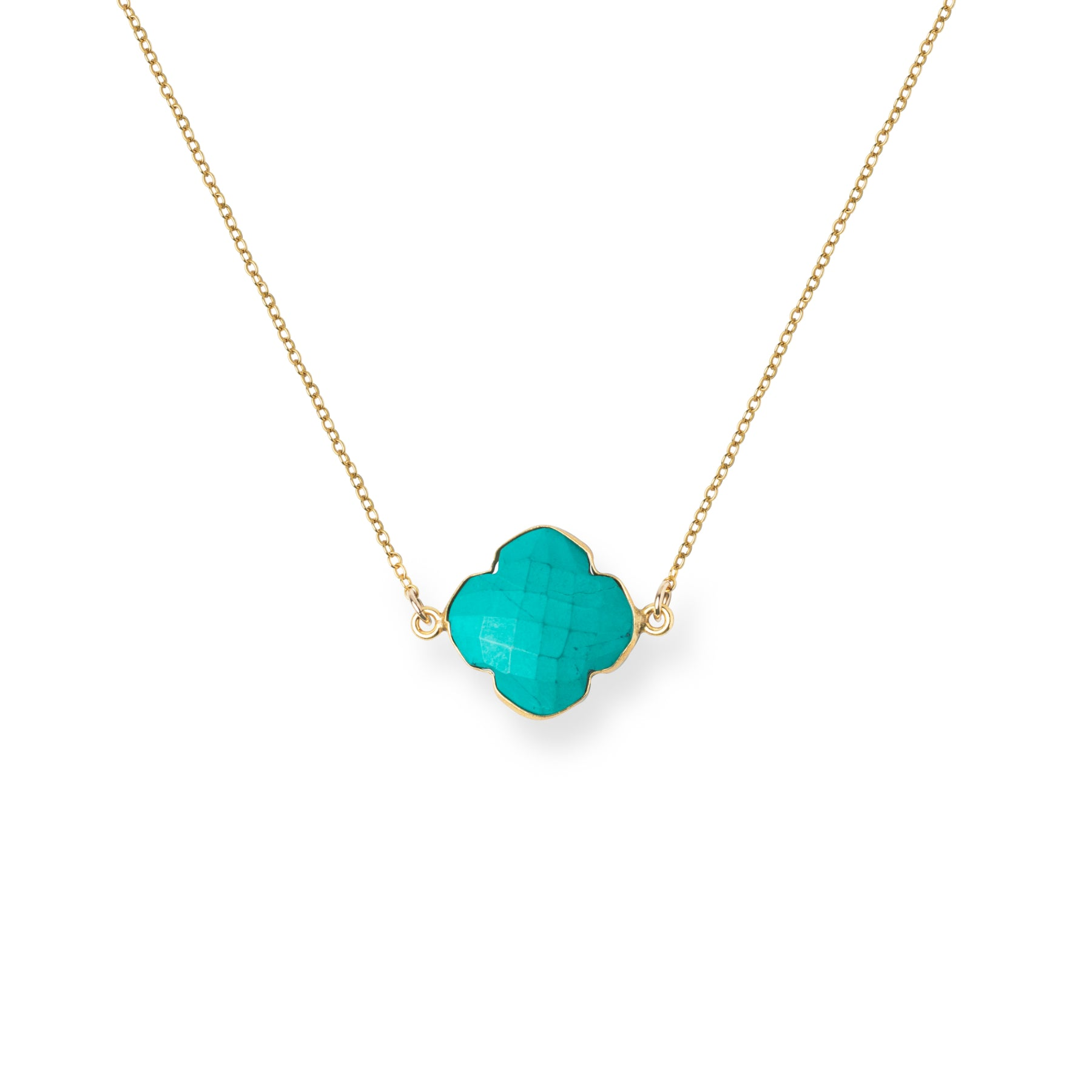 Close-up of Clover-shaped Turquoise and Gold Necklace 'I Am Complete' on White Background Product Photo by Asha Blooms