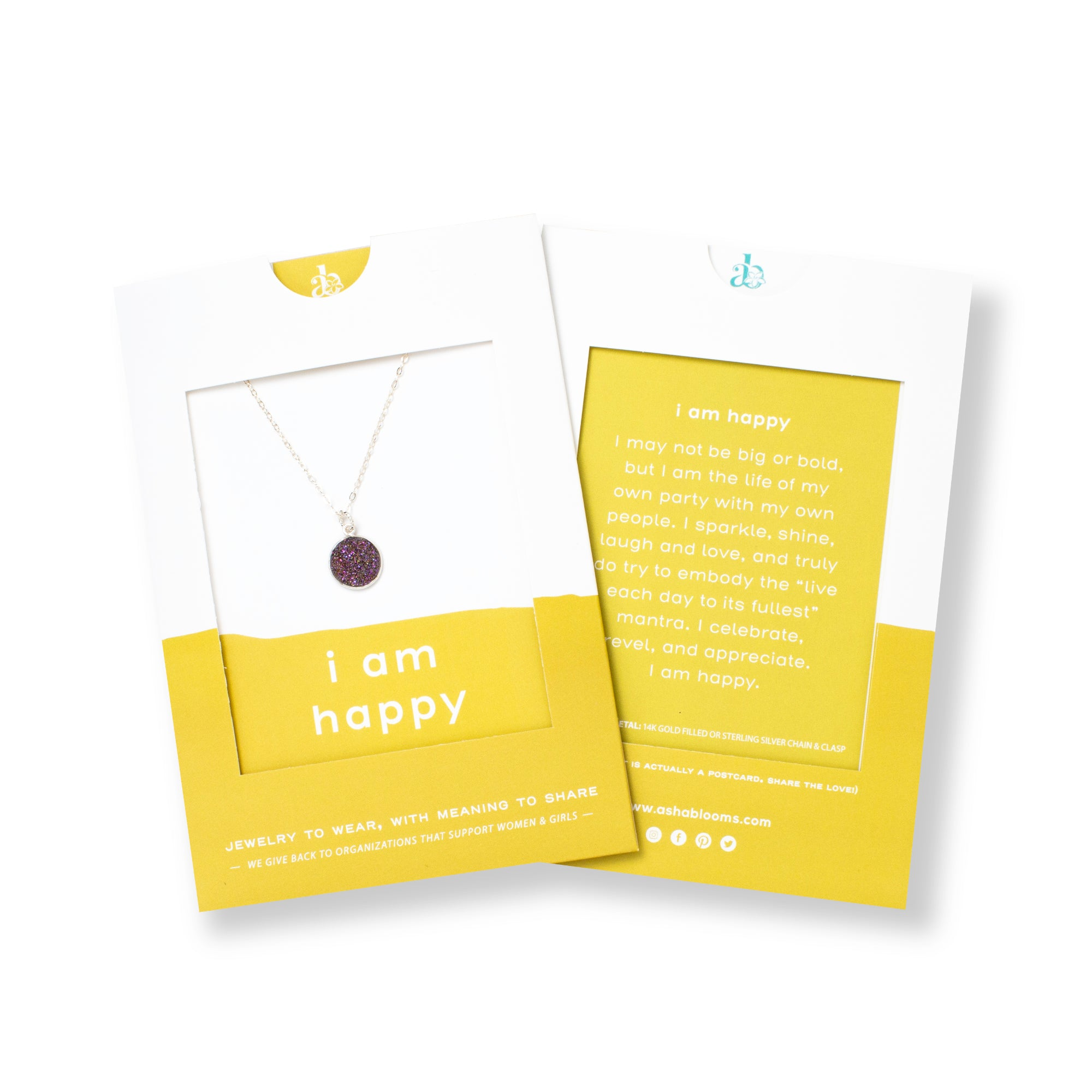 Circular Purple Druzy and Silver Necklace 'I Am Happy' in Yellow Gift Message Sleeve Packaging Photo by Asha Blooms